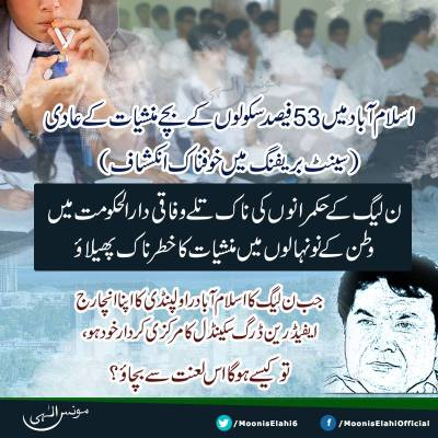 Drug Addiction in Islamabad Schools-Moonis Elahi