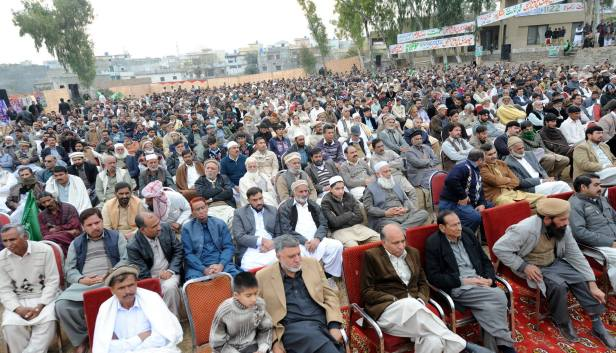 Venue of the convention was packed to capacity and large number of women were also seated on nearby houses roofs